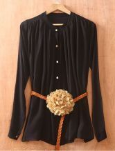 Black Long Sleeve Pleated Chiffon Shirt