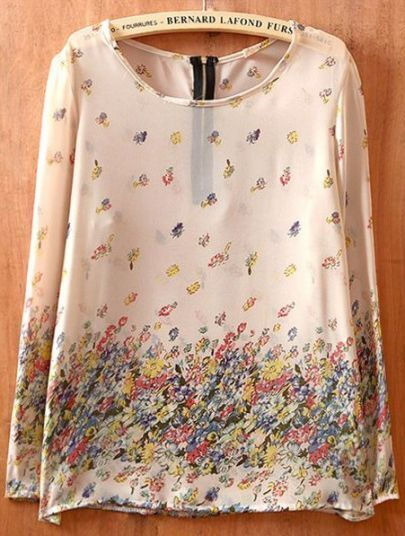 Beige Long Sleeve Floral Zipper Chiffon Shirt