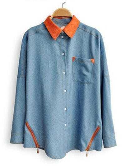 Blue Lapel Long Sleeve Zipper Pocket Denim Shirt