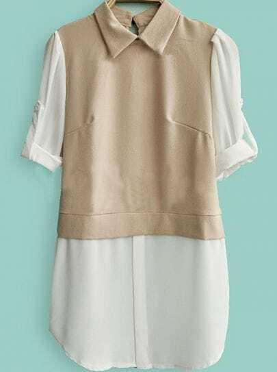 Khaki White Lapel Long Sleeve Buttons Chiffon Shirt