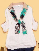 Ivory Long Sleeve Drawstring Chiffon Shirt