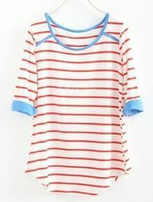 Red White Striped Three Quarter Length Sleeve T-Shirt