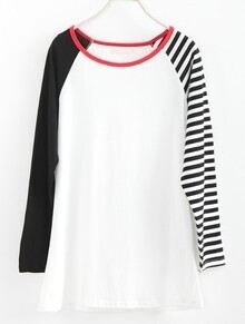 Black White Striped Long Sleeve T-Shirt