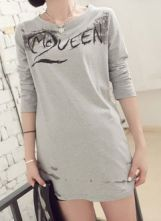 Light Grey Long Sleeve Letters Print Cotton T-Shirt