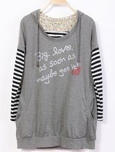 Grey Hooded Striped Long Sleeve Letters Print Sweatshirt
