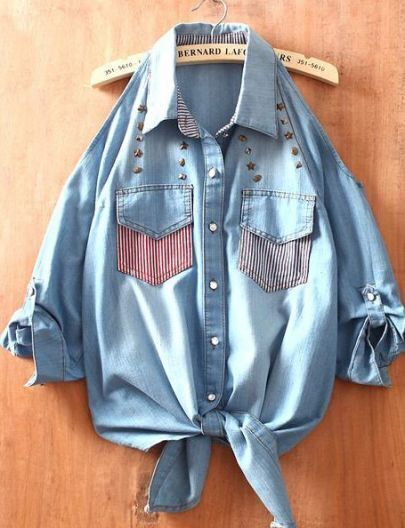 Blue Off the Shoulder Striped Pockets Rivet Denim Shirt