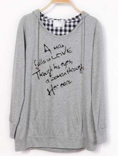 Grey Hooded Long Sleeve Plaid Letters Print Sweatshirt