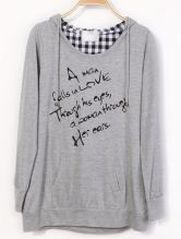 Grey Hooded Long Sleeve Plaid Letters Print Sweatshirt