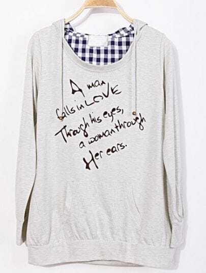 Beige Hooded Long Sleeve Plaid Letters Print Sweatshirt