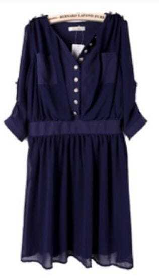 Navy Half Sleeve Side Zipper Pockets Chiffon Dress
