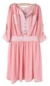 Pink Half Sleeve Side Zipper Pockets Chiffon Dress