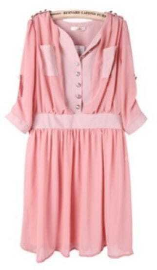 Pink Half Sleeve Side Zipper Pockets Chiffon Dress