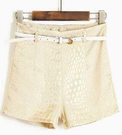 White High Waist Snakeskin Leather Shorts