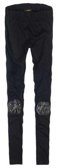 Black Skinny Rivet Elasic Leggings
