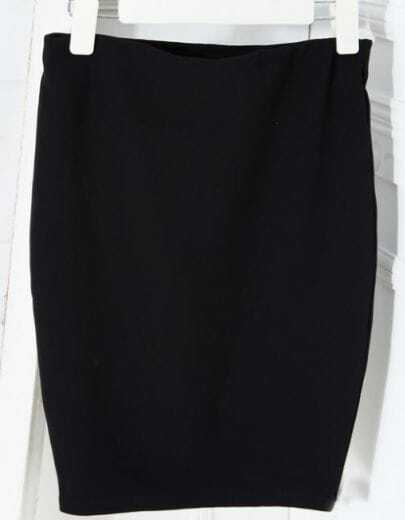 Black Elasic Skinny Slim Bodycon Skirt