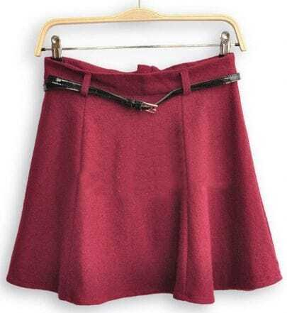 Wine Red High Waist Umbrella A Line Skirt