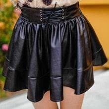 Black Drawstring Waist PU Leather Skirt