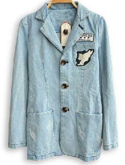 Blue Notch Lapel Long Sleeve Pocket Denim Coat