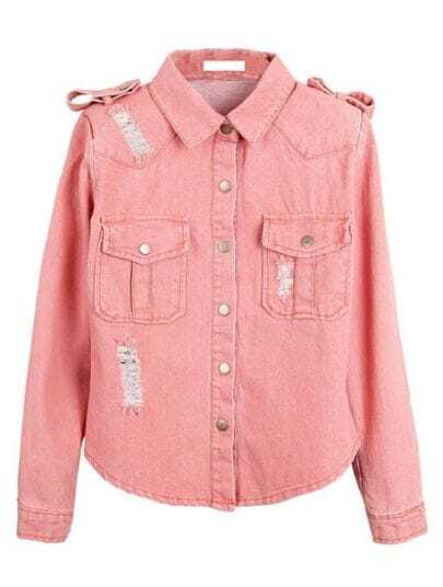 Pink Lapel Long Sleeve Ripped Epaulet Denim Coat