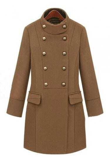 Camel High Neck Long Sleeve Double Breasted Coat