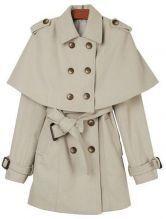 Beige Long Sleeve Removable Shawl Epaulet Coat