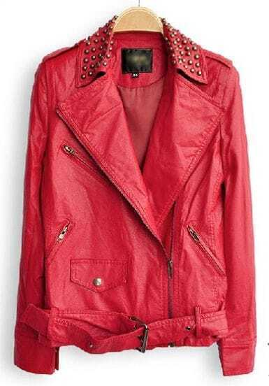 Red Lapel Long Sleeve Zipper Rivet PU Leather Jacket