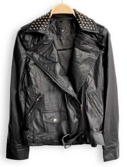Balck Lapel Long Sleeve Zipper Rivet PU Leather Jacket