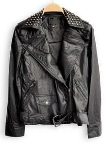 Balck Lapel Long Sleeve Zipper Rivet PU Leather Jacket
