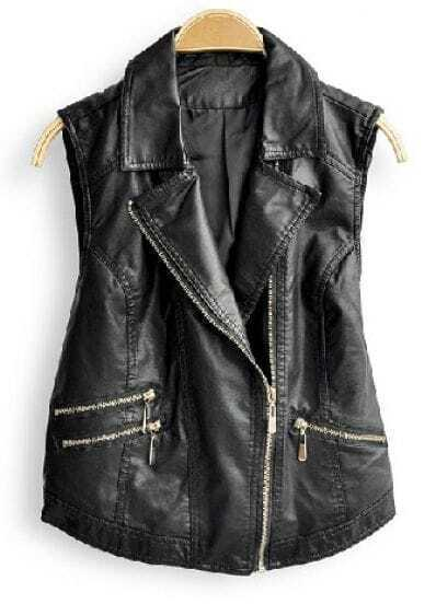 Black Lapel Sleeveless Zipper Pockets Vest Coat