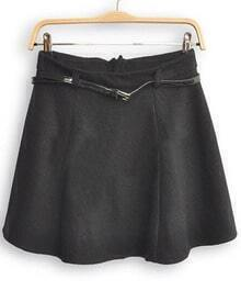 Black High Waist Umbrella A Line Skirt