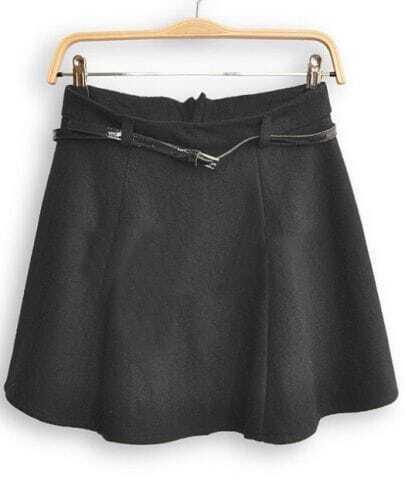 Black High Waist Umbrella A Line Skirt