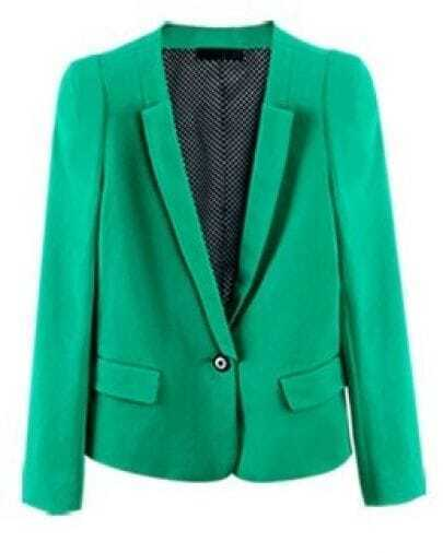 Green Long Sleeve Single Button Pockets Crop Suit
