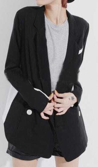 Black White Notch Lapel Long Sleeve Pocket Suit