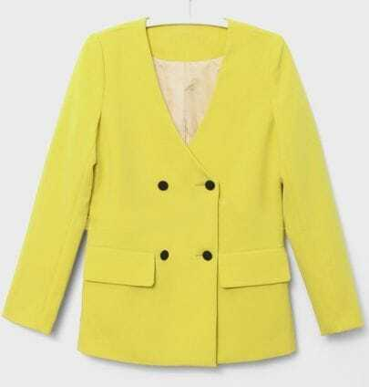 Yellow Collarless Long Sleeve Buttons Suit