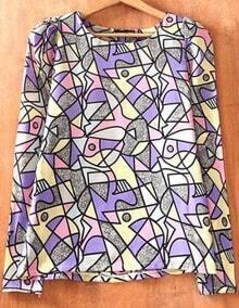 Pink Purple Long Sleeve Geometric Print Chiffon Blouse