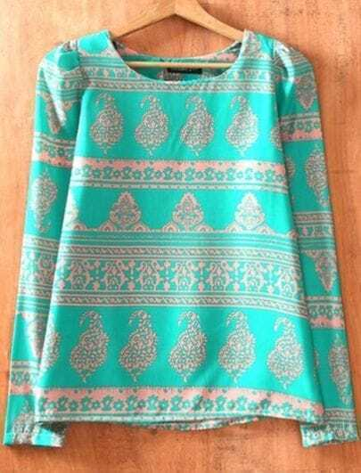 Turquoise Green Long Sleeve Geometric Print Chiffon Blouse 72