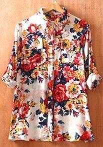 White Lapel Long Sleeve Peony Print Pockets Shirt
