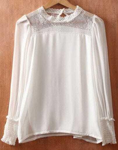 White Round Neck Long Sleeve Lace Chiffon Blouse