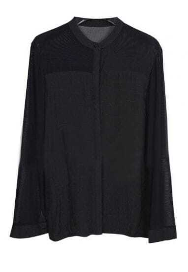 Black Long Sleeve Sheer Mesh Yoke Shirt