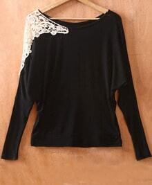 Black Long Sleeve Shoulder Lace Embroidery  Sweater