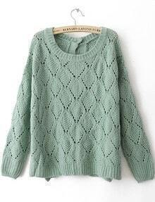 Green Long Sleeve Hollow Geometric Buttons Sweater
