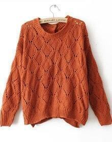 Red Long Sleeve Hollow Geometric Buttons Sweater