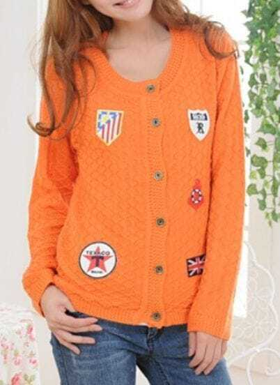 Orange Long Sleeve Badge Single Breasted Cardigan Sweater