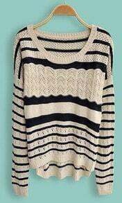 Navy Beige Striped Embroidery Pullovers Sweater