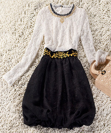 White Black Long Sleeve Embroidery Sequined Dress