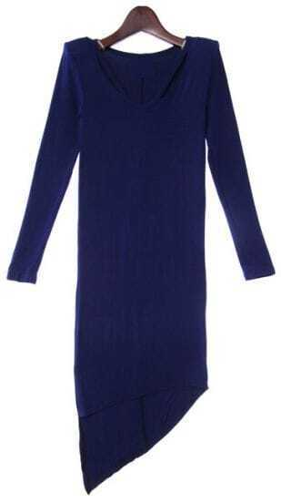 Blue Long Sleeve Asymmetrical Bodycon Dress