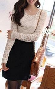White Long Sleeve Lace Beading Embroidery Dress