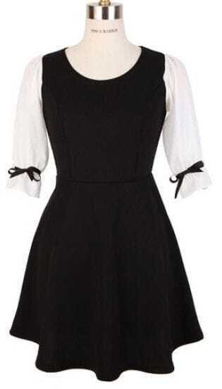 Black White Round Neck Half Sleeve Bow Dress