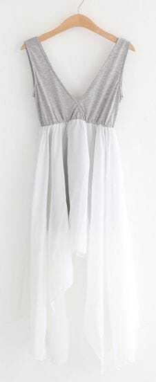 Grey Sleeveless Asymmetrical Chiffon Dress