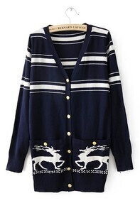 Navy Long Sleeve Deer Print Pockets Cardigan Sweater